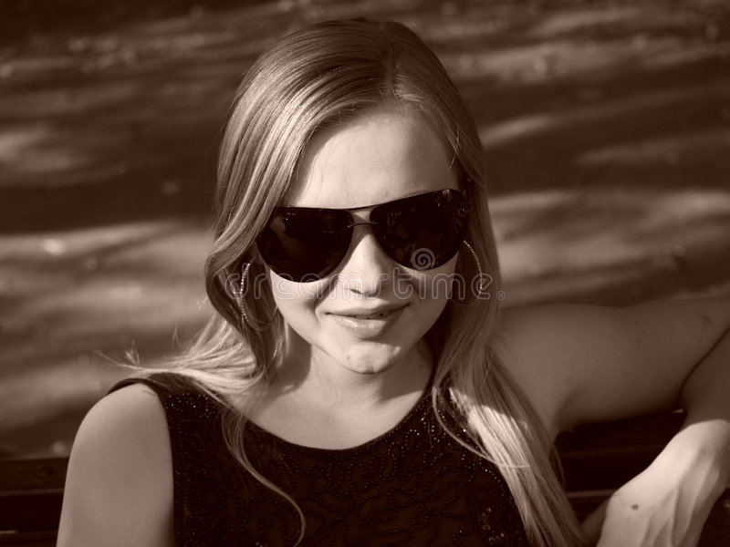 Download Young Woman With Sun Glasses In Sepia Stock Photography - Image: 7618402