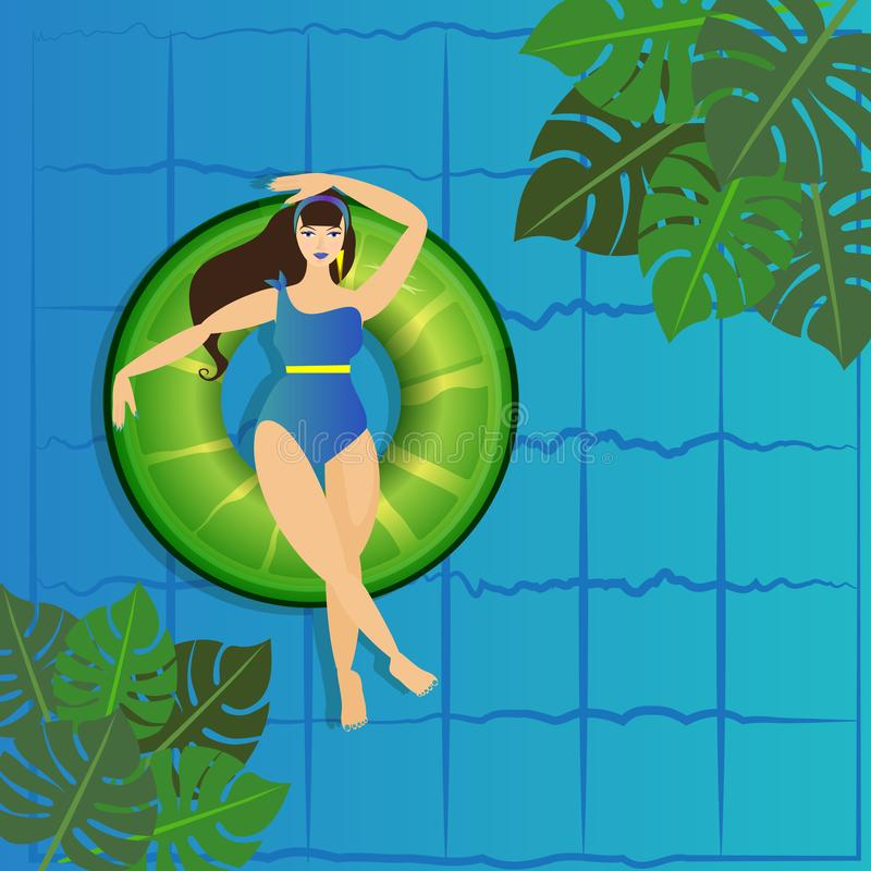 Young woman sunbathing on ring in pool. Vector illustration of young model floating on water with big cocktail. Pool party invitation template, summer menu royalty free illustration