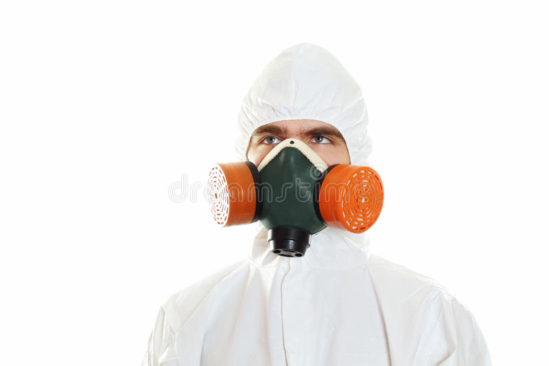 Young woman in sunglasses. Man in protective suit, a mask and a respirator. Isolated on white stock photos