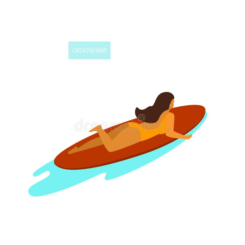 Young woman surfer lying on a surfboard swimming in the sea vector illustration