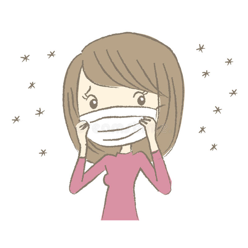 Young woman with surgical mask having hay fever. Symptom stock illustration