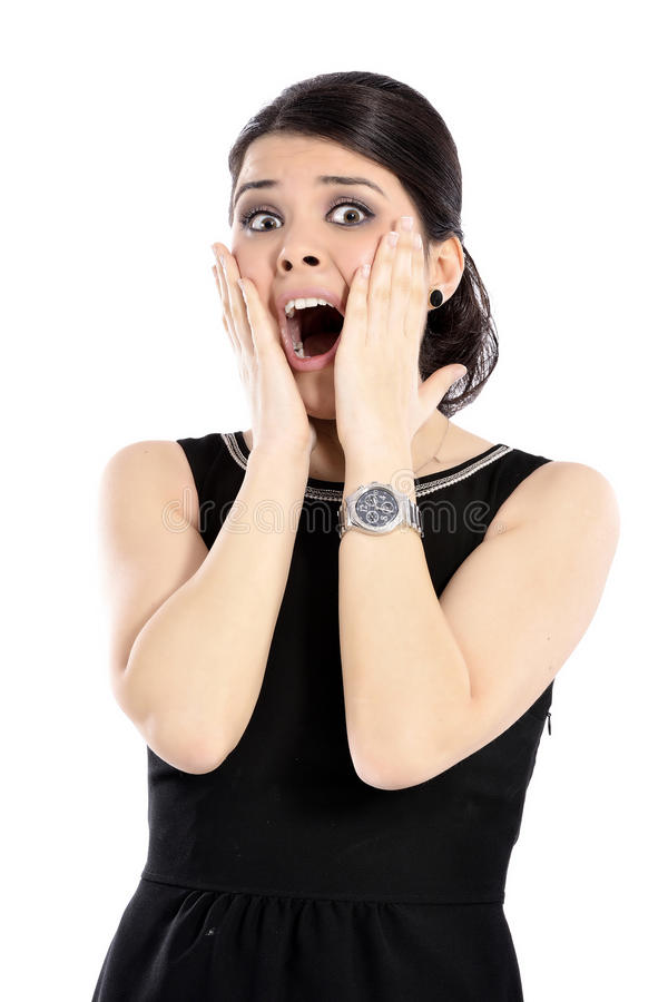 Young woman surprised stock photos