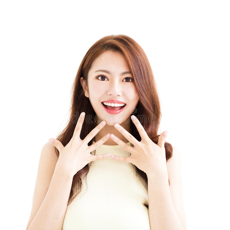 Young woman with surprised gesture royalty free stock photography
