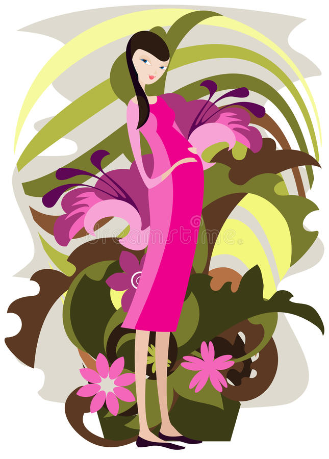 Download A Young Woman Surrounded By Flowers Stock Illustration - Image: 19209034