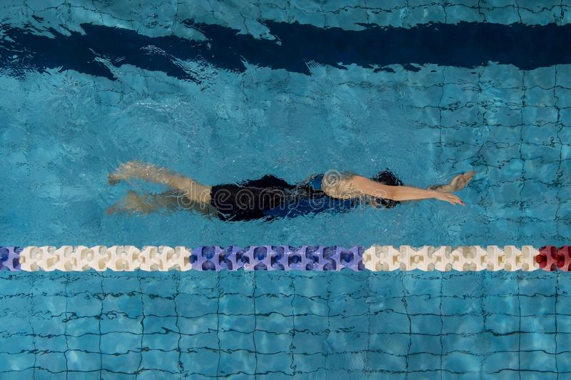 Young woman swimmer in blue pool. Girl swimmer swim furiously in freestyle stroke in a nice clear swimming pool royalty free stock photo