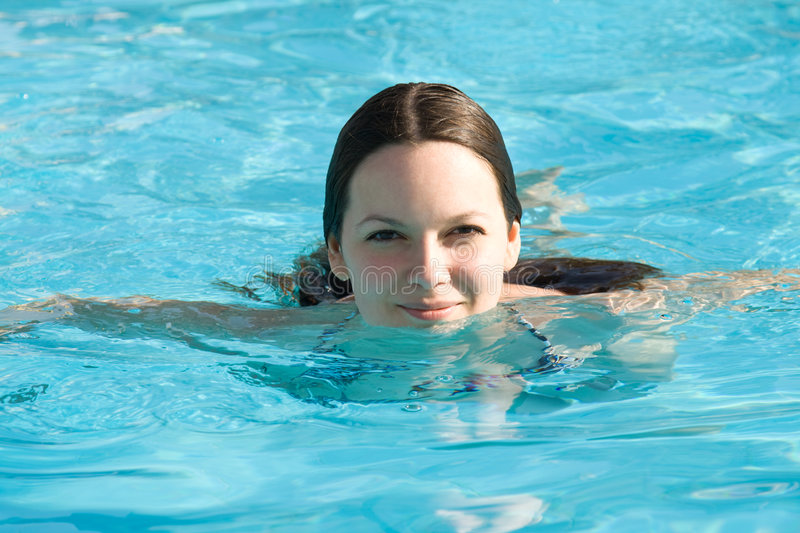 Download Young Woman In A Swimming Pool Stock Image - Image: 7011117