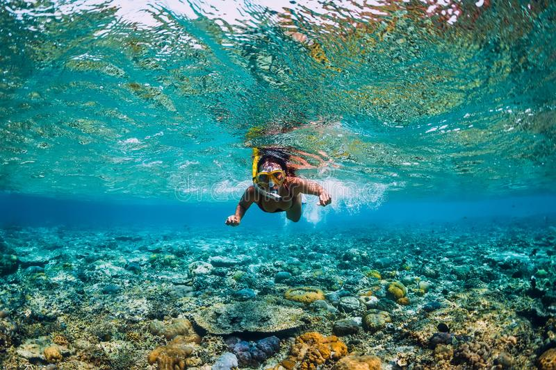 Young woman swimming underwater. Snorkeling in the tropical sea stock photo