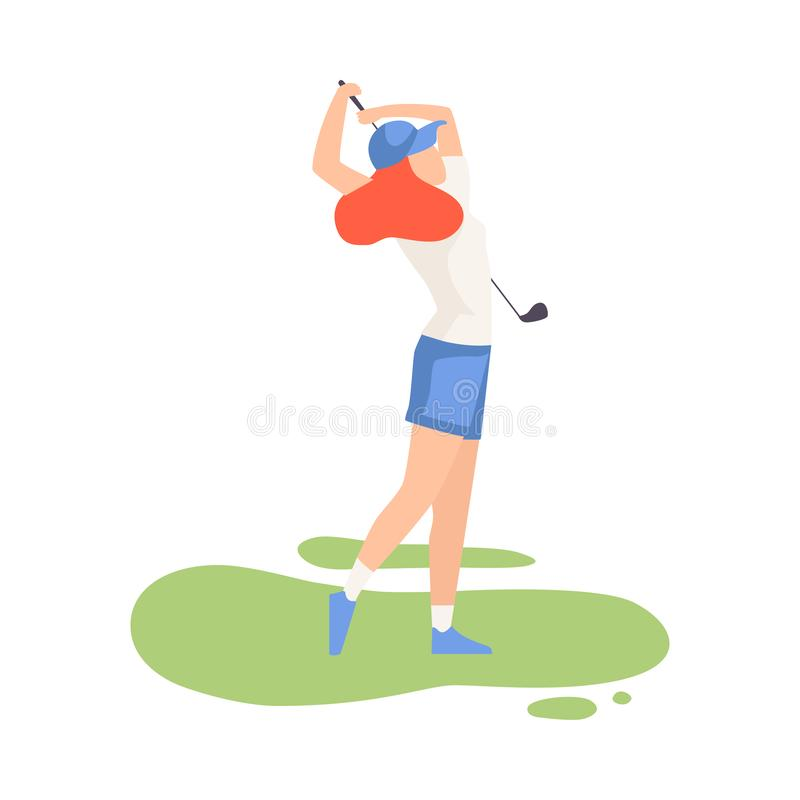 Young Woman Swinging with Golf Club, Female Athlete in Sports Uniform Playing Golf on Course, Outdoor Sport or Hobby vector illustration