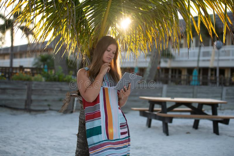 Young woman with tablet computer on the beach. Young woman wearing dress using tablet computer on the beach in the morning on the background of palm trees in royalty free stock image