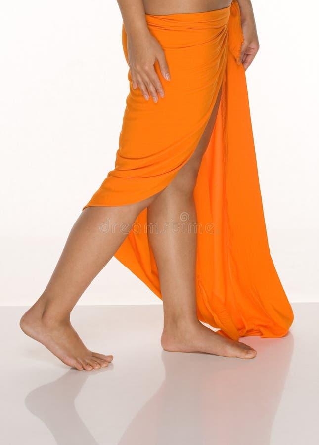 Young woman in Tahitian dancing dress stock photos