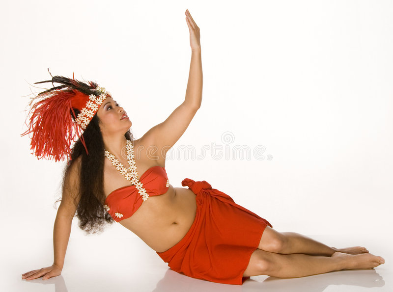 Young woman in Tahitian feather headdress stock photos