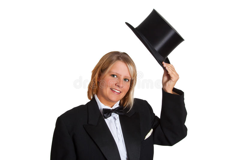 Young woman in a tailcoat royalty free stock photo