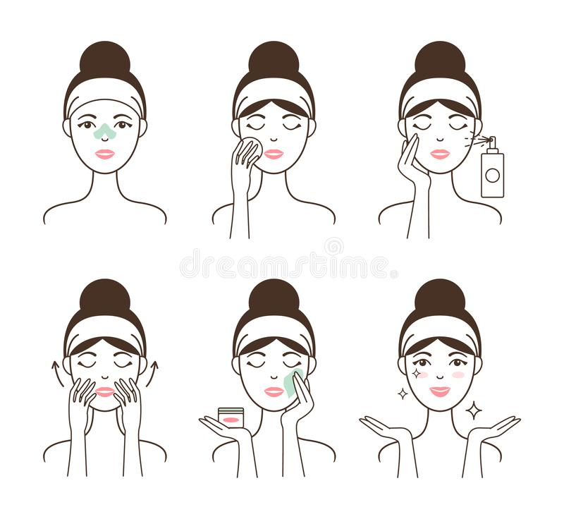 Young Woman Takes Care of Her Skin with Cosmetics royalty free illustration