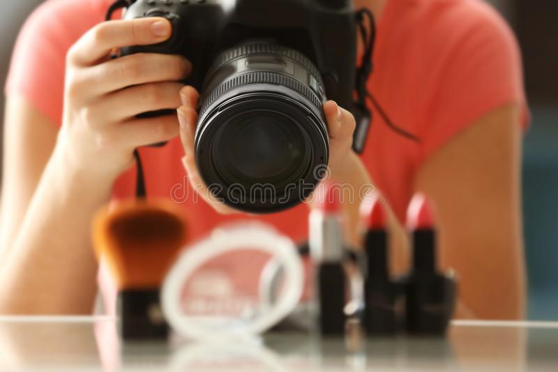 Young woman taking closeup pictures stock photos