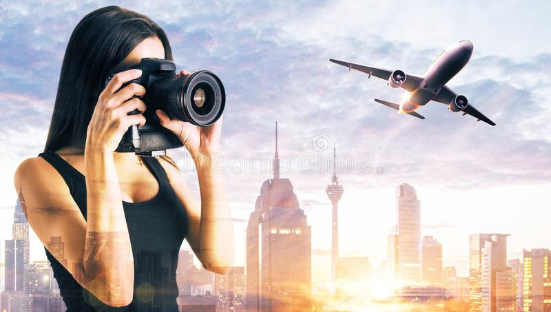 Young woman taking photo stock image