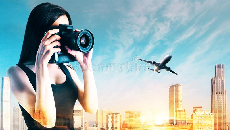 Young woman taking photo royalty free stock images