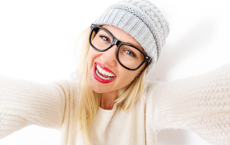 Young woman taking a selfie stock image