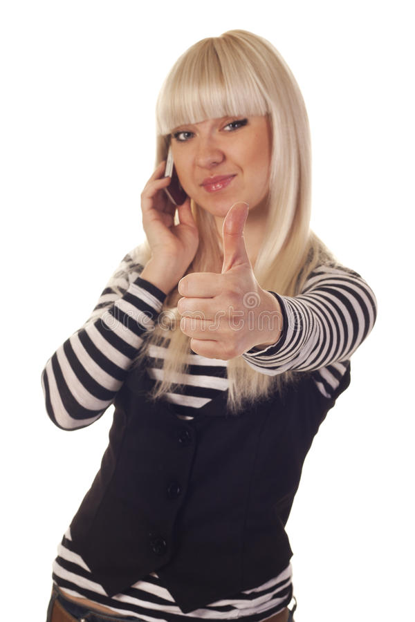 Download Young Woman Talking By Mobile Showing Hand Ok Sign Stock Images - Image: 21639224