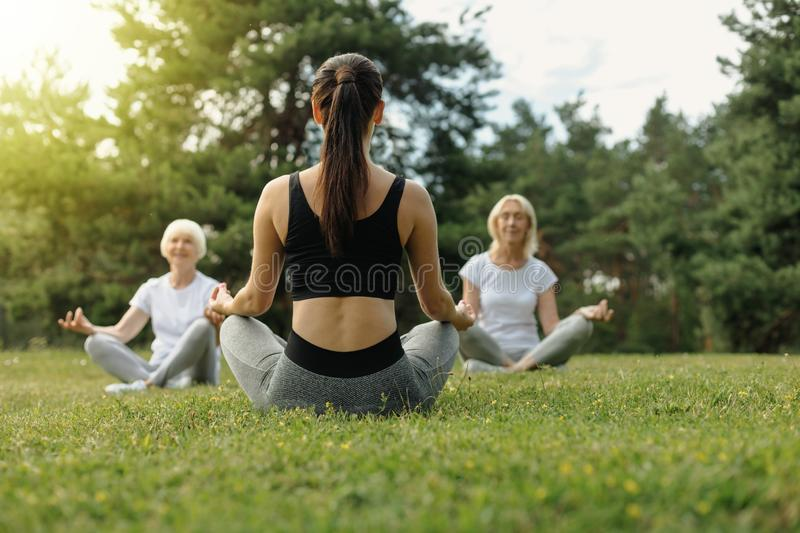 Young woman teaching elderly people yoga royalty free stock photo