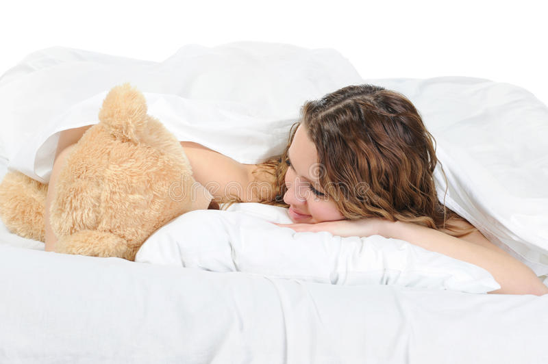 Download Young woman with teddybear stock photo. Image of lace - 18159990