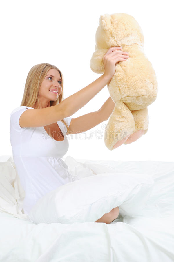 Download Young Woman With Teddybear Stock Image - Image: 21870351