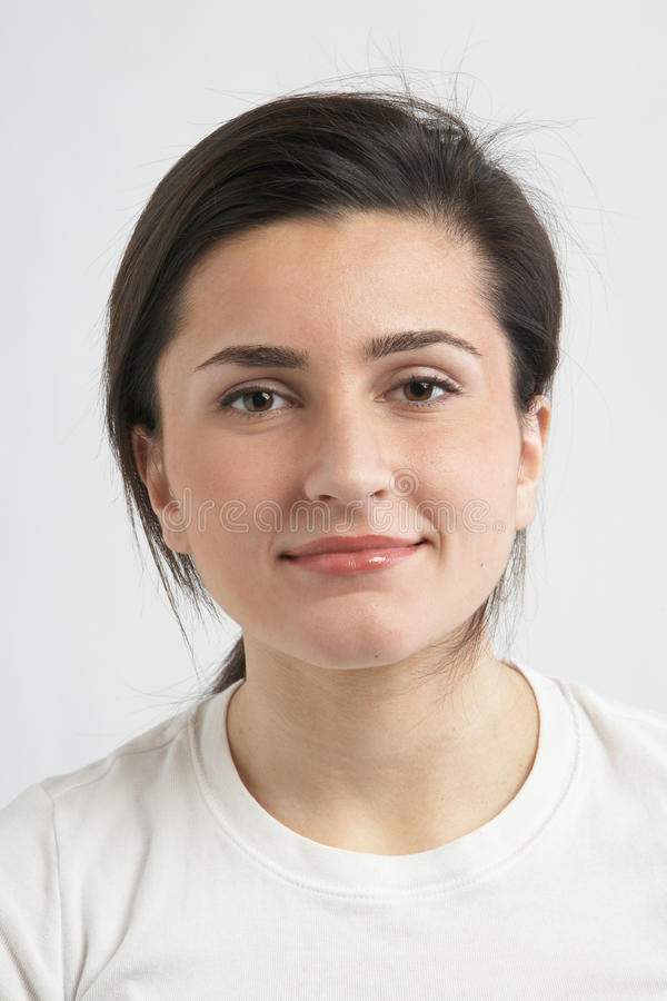 Young woman in tee-shirt stock image