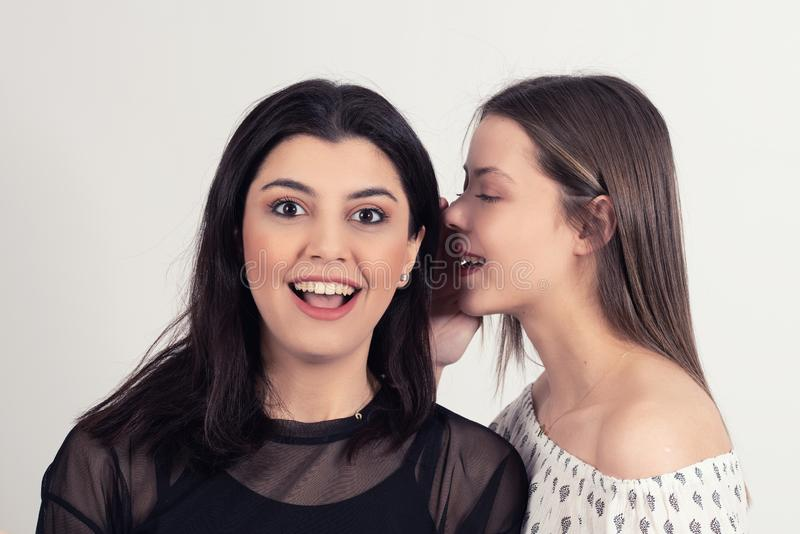 Young woman telling her girlfriend some secret. Two women gossiping. Young women telling her girlfriend some secret. Two women gossiping. Excited emotional girl royalty free stock photo