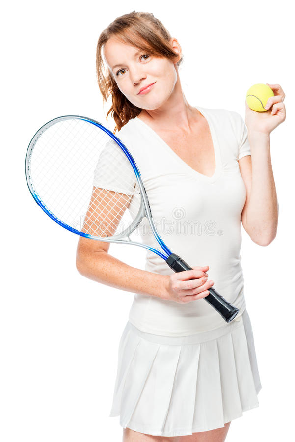Young woman tennis player with racket on white stock photo