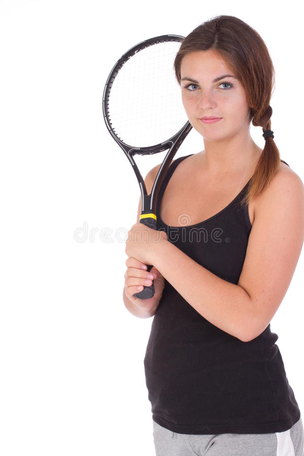 Download Young Woman With Tennis Racket Stock Image - Image: 25827241