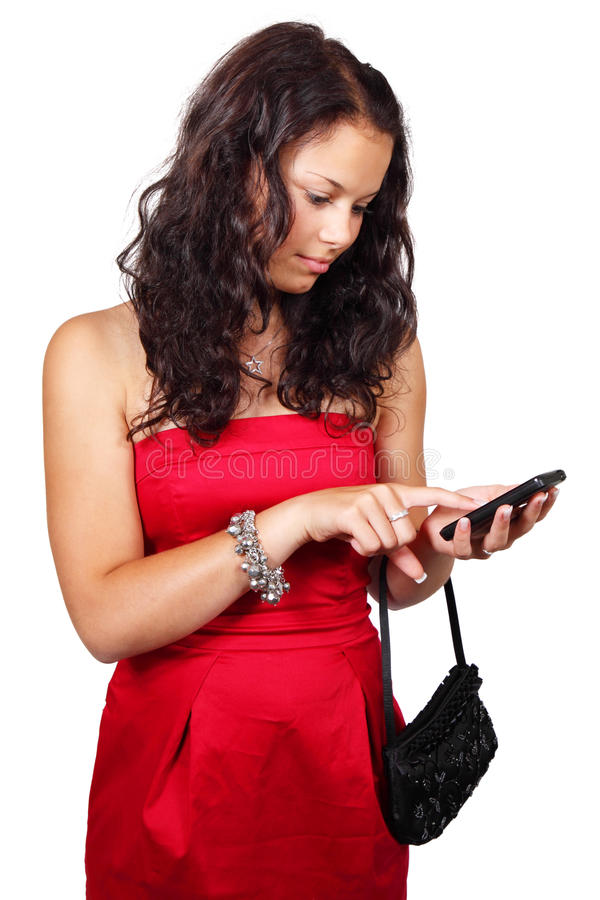 Download Young Woman Texting On Touch Screen Phone Stock Image - Image: 11387961