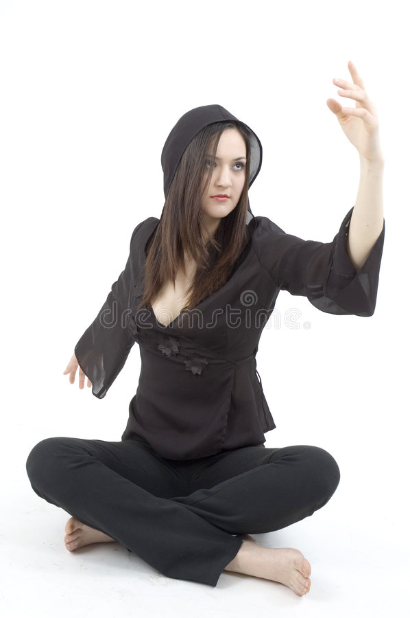 Young woman in theatrical pose royalty free stock image