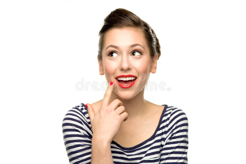 Download Young woman thinking stock image. Image of facial, fifties - 22159317