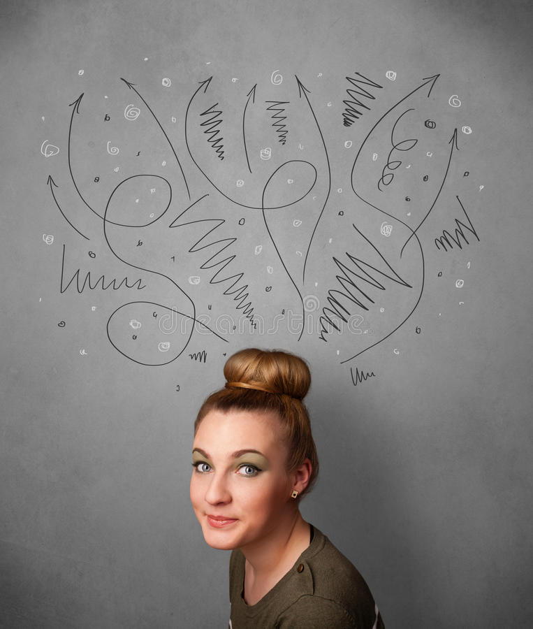 Young woman thinking with arrows over her head. Pretty young woman deciding with sketched arrows over her head stock photos