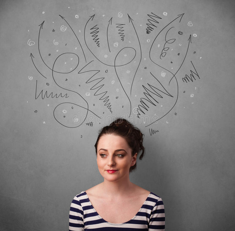 Young woman thinking with arrows over her head. Pretty young woman deciding with sketched arrows over her head royalty free stock images