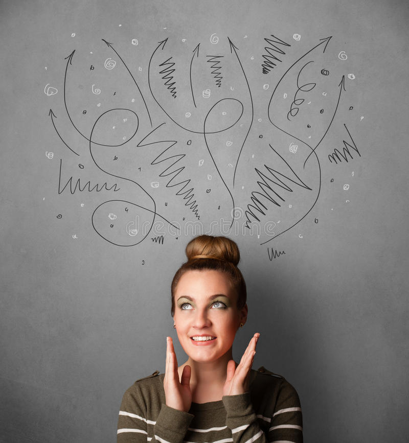Young woman thinking with arrows over her head. Pretty young woman deciding with sketched arrows over her head stock image