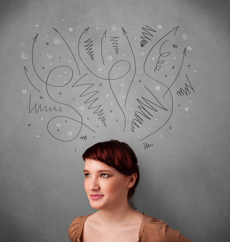 Young woman thinking with arrows over her head. Pretty young woman deciding with sketched arrows over her head royalty free stock photography