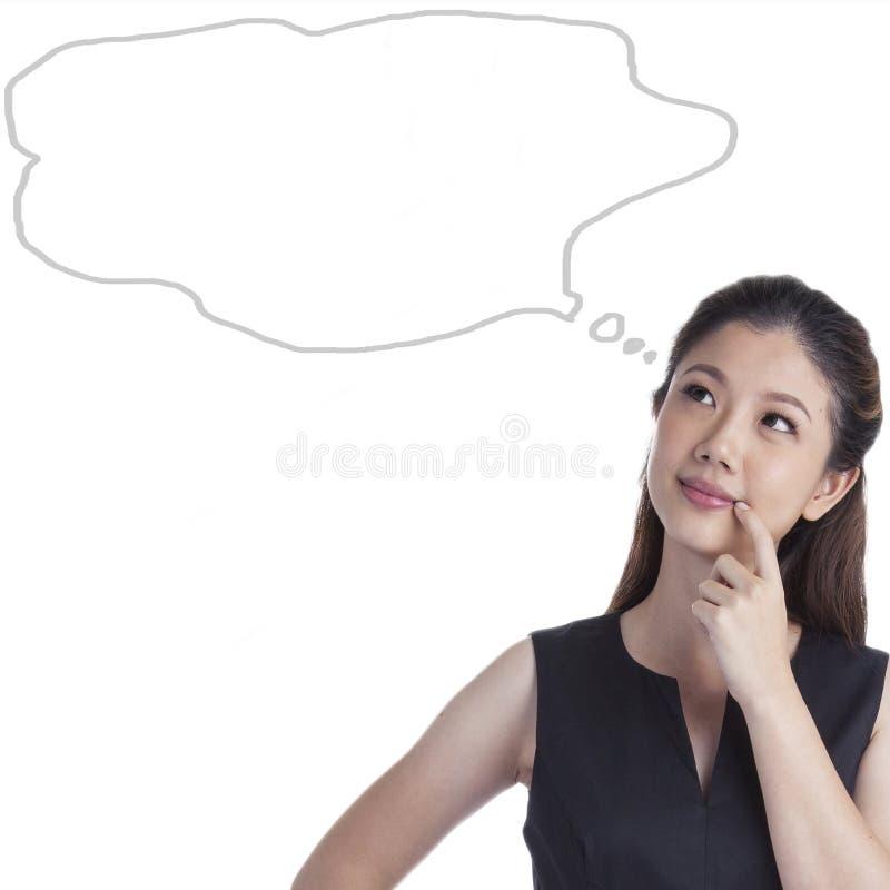 Young woman thinking blackboard stock photo