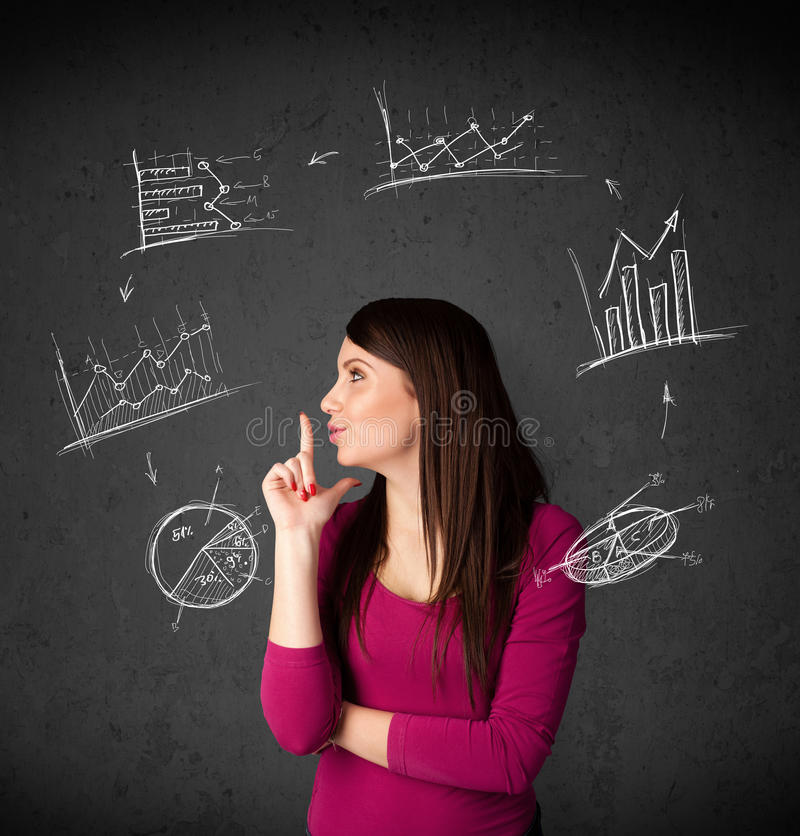 Young woman thinking with charts circulation around her head royalty free stock image