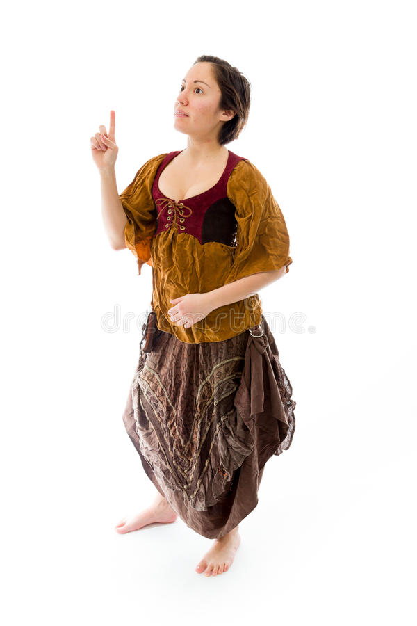 Download Young Woman Thinking And Pointing Up Stock Image - Image: 41945421