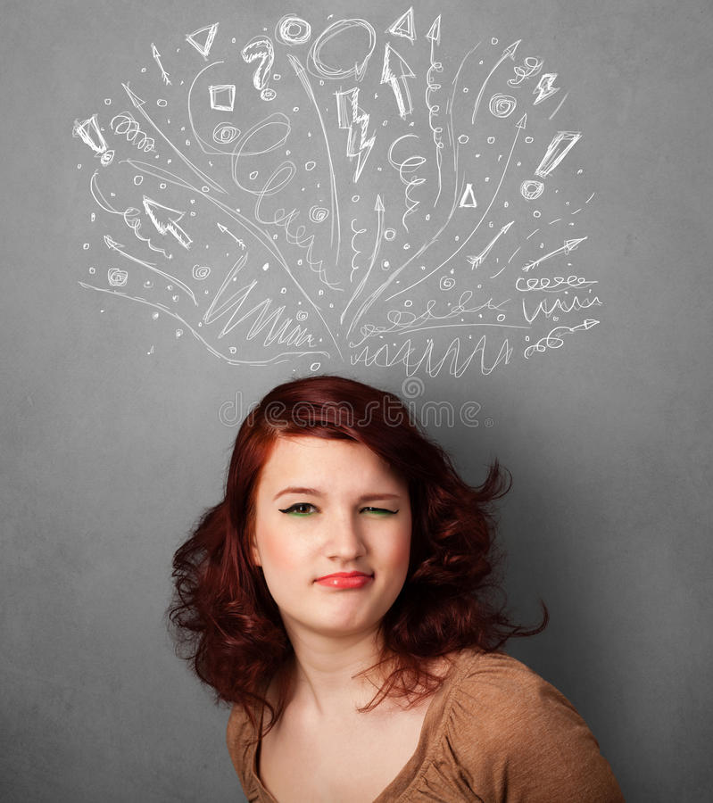 Young woman thinking with sketched arrows above her head. Pretty young woman with many sketched arrows pointed in different directions above her head royalty free stock image