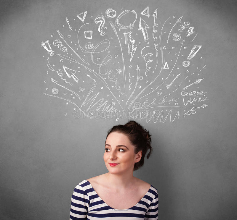 Young woman thinking with sketched arrows above her head. Pretty young woman with many sketched arrows pointed in different directions above her head royalty free stock images