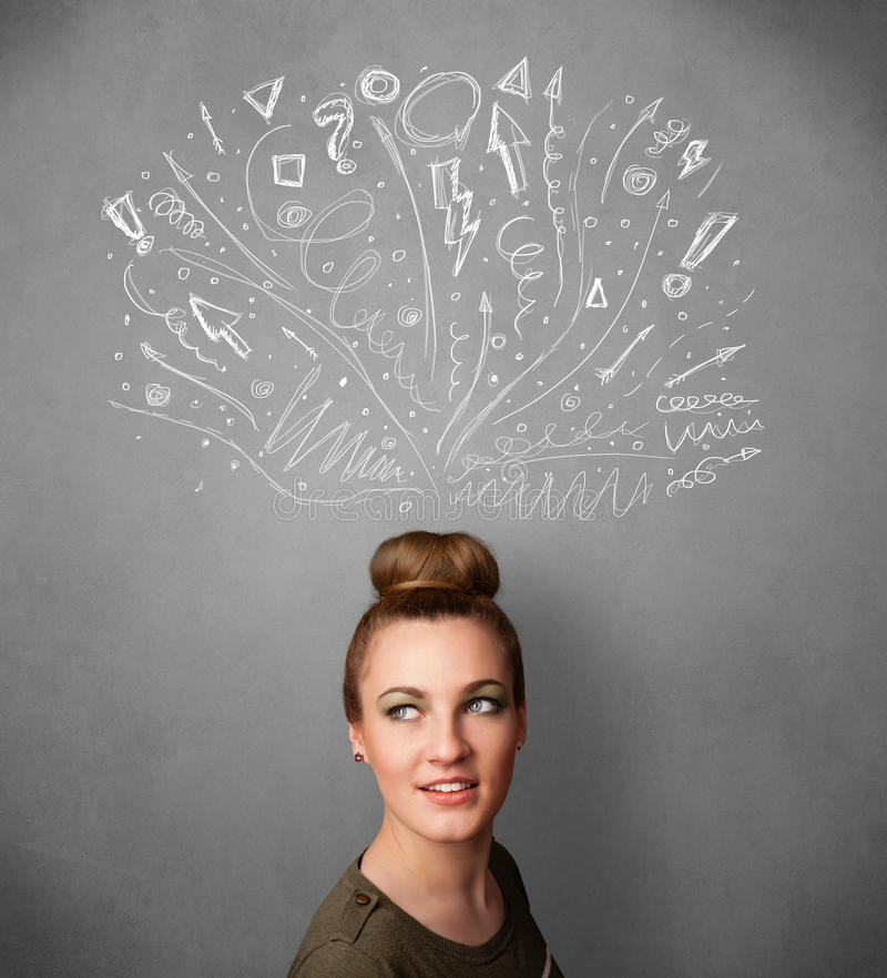 Young woman thinking with sketched arrows above her head. Pretty young woman with many sketched arrows pointed in different directions above her head stock image