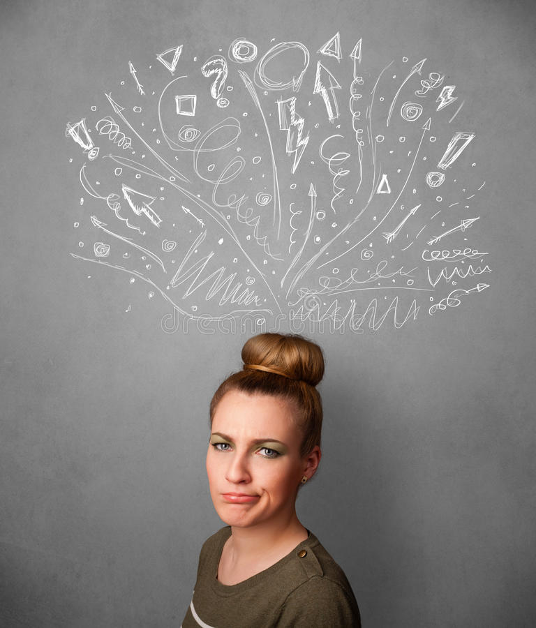 Young woman thinking with sketched arrows above her head. Pretty young woman with many sketched arrows pointed in different directions above her head royalty free stock photography