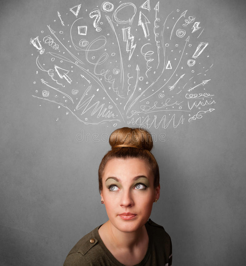 Young woman thinking with sketched arrows above her head. Pretty young woman with many sketched arrows pointed in different directions above her head royalty free stock photo