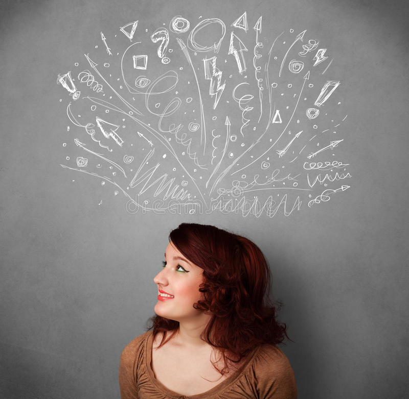 Young woman thinking with sketched arrows above her head. Pretty young woman with many sketched arrows pointed in different directions above her head stock images