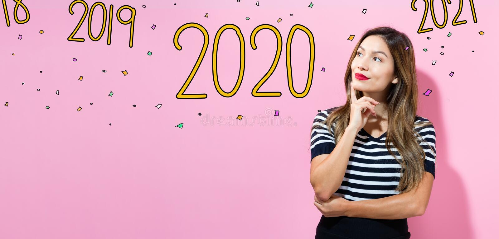 2020 with young woman stock photos