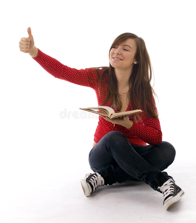 Download Young woman thumb up stock photo. Image of learning, beautiful - 14171936