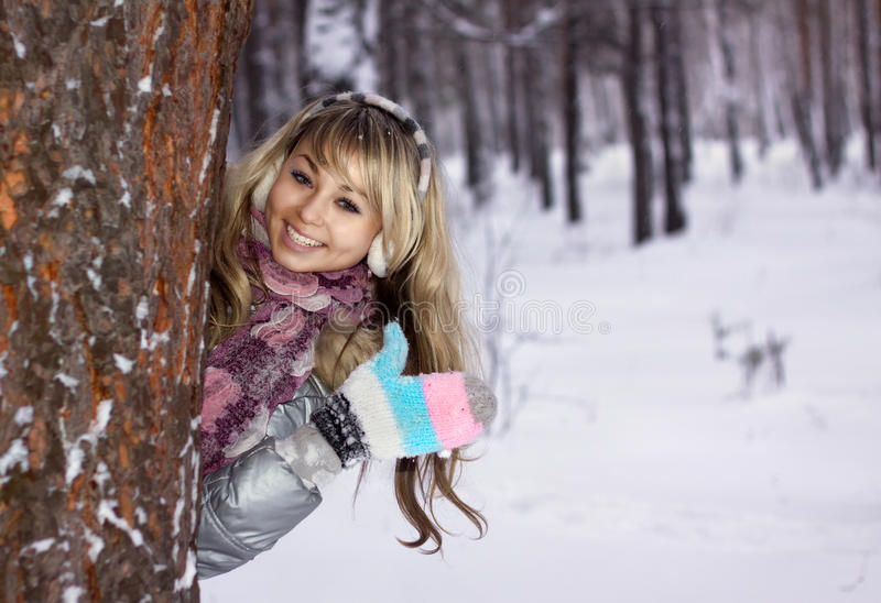Download Young Woman Thumbs-up In Winter Forest Stock Photos - Image: 17556463