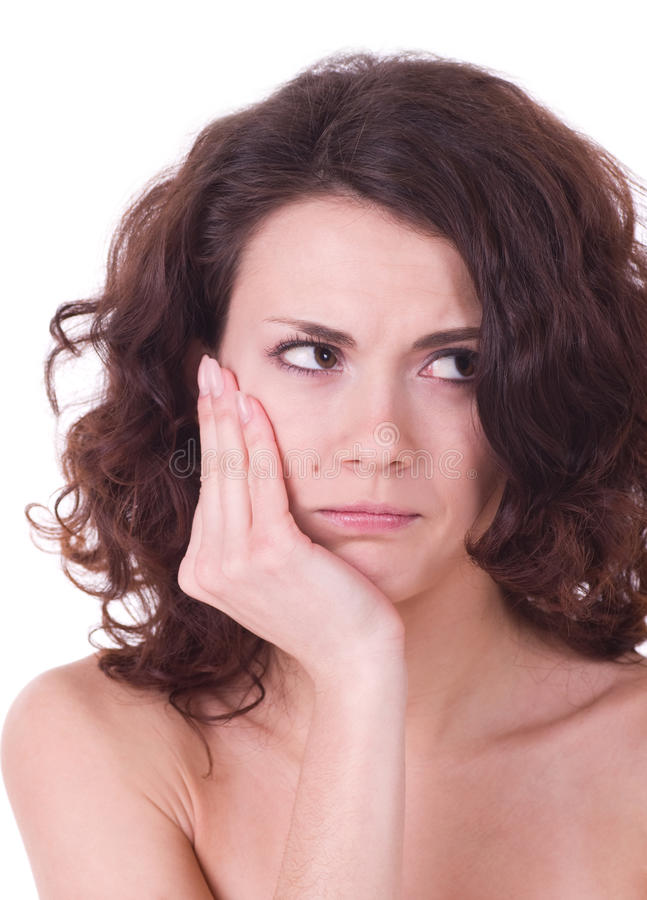 Young woman with toothache royalty free stock photo