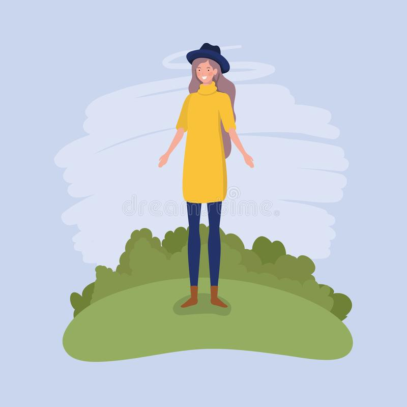 Young woman with tophat standing in the camp. Vector illustration design royalty free illustration